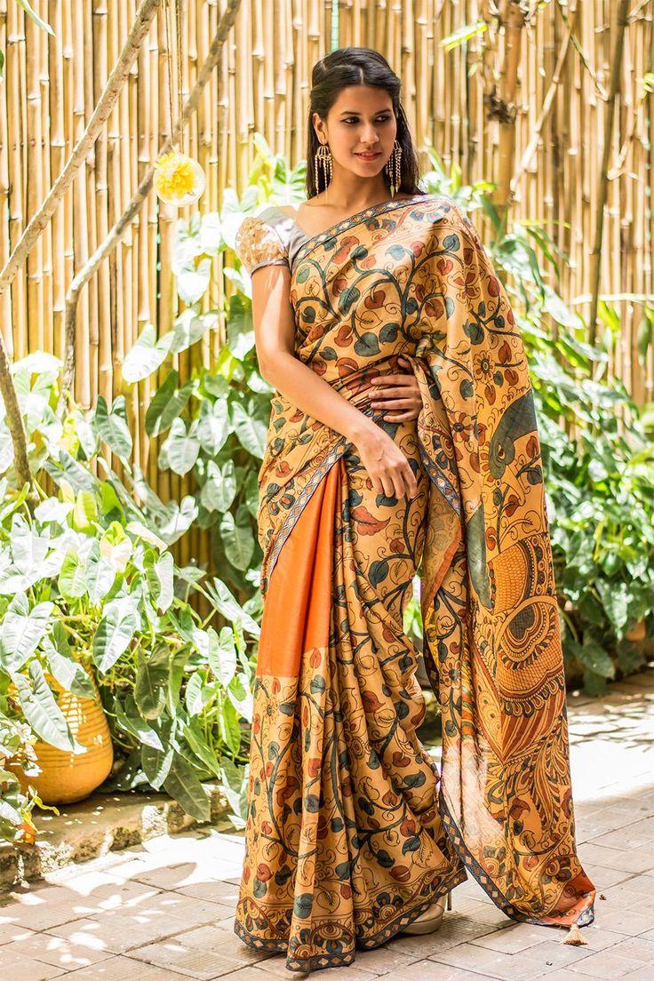 #kalamkari #tussar #saree #India #floral