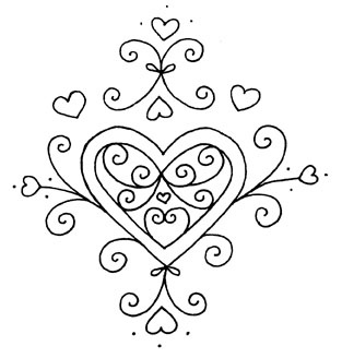 pretty hearts design for embroidery perfect for redwork