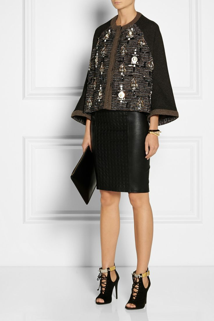 Biyan|Colbie embellished tweed kimono-style jacket|NET-A-PORTER.COM