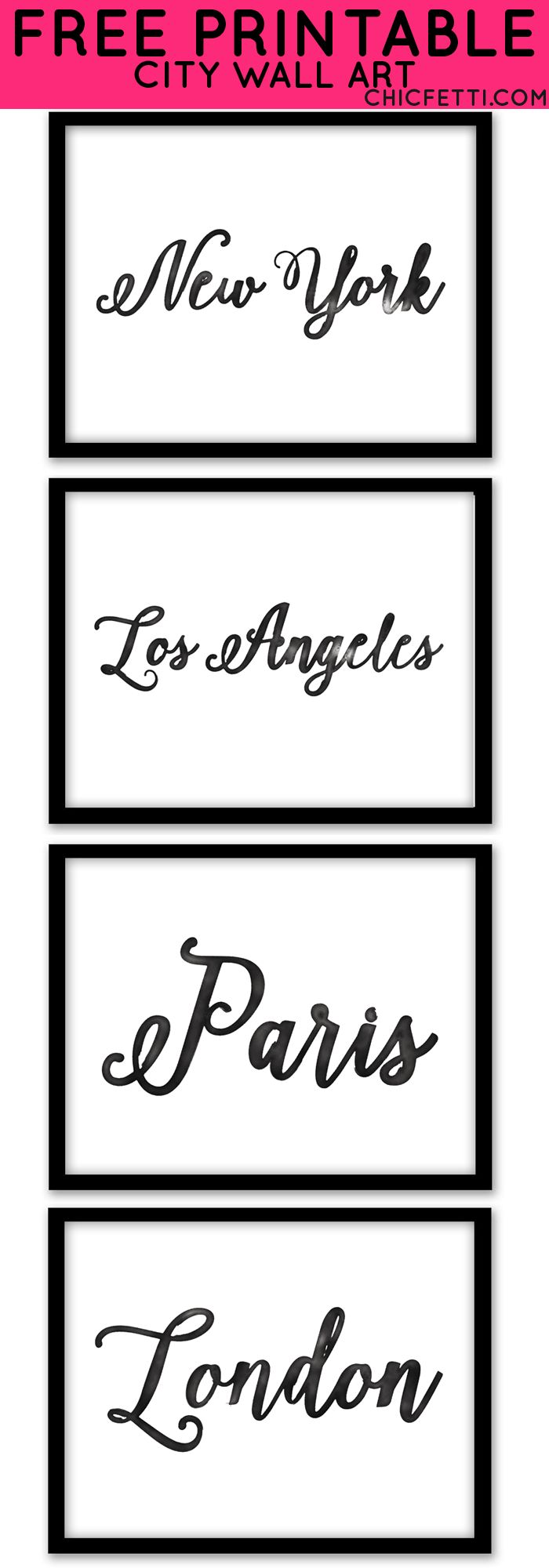 Free Printable City Wall Art from @chicfetti - Easy wall art DIY! Just print & frame!