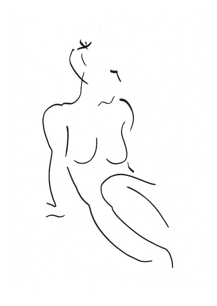 David Jones's nude pen and ink line drawing print inspired by Matisse. Wychwood Art