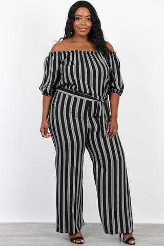 e527daf98d2f Plus Size Off Shoulder Sunday Stripe Jumpsuit