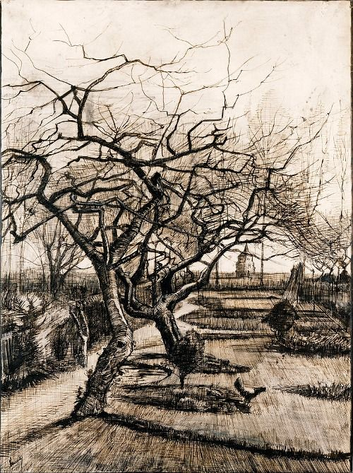 Vincent van Gogh (Dutch, 1853-1890), The Parsonage Garden at Nuenen in Winter, 1884. Pen and brown ink, lead white on paper, 51.5 x 38 cm.