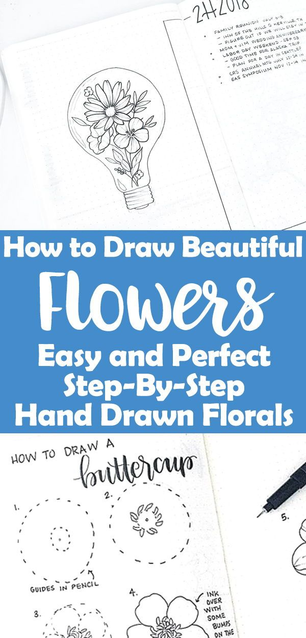 How To Draw Easy Flower Doodles For Bullet Journal Spreads Flower Doodles Planner Doodles Flower Drawing