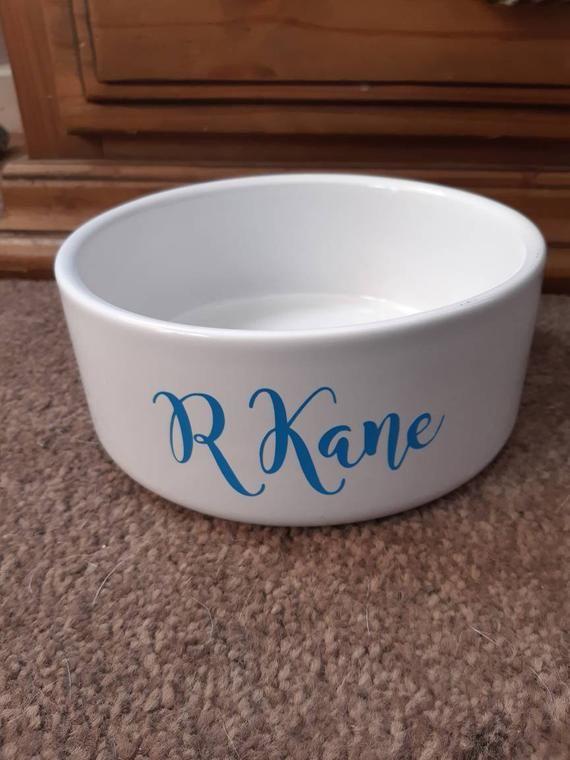 Personalised Pet Bowl Small Medium Or Large Dog Bowl Cat Bowl Dish Any Colour Name In 2020 Pet Bowls Dog Bowls Color Names