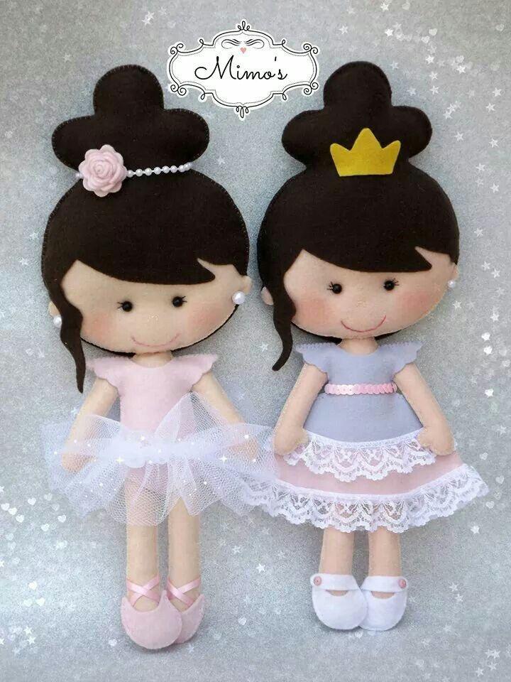 Princesas feltro boneca fieltro