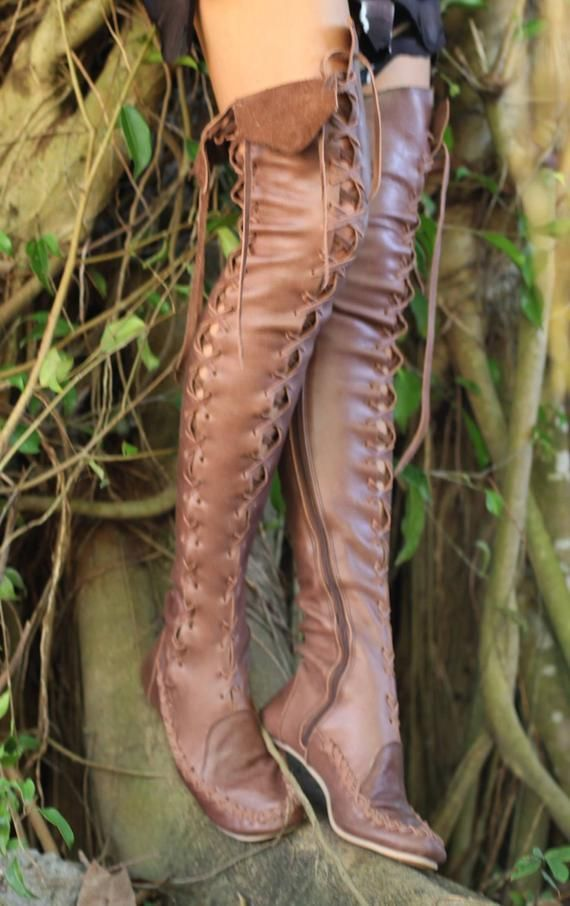 ec45c0ee14a Handmade knee lenght leather boots in brown. in 2019