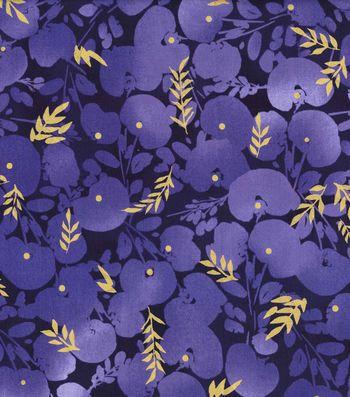 Kathy Davis Cotton Fabric 44''-Large Tonal Floral on Navy