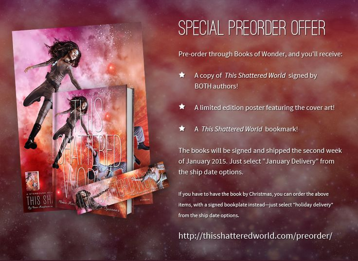 The pre-order deal for THIS SHATTERED WORLD is now live! Pre-order your autographed copy from Books of Wonder and you'll also get a signed poster and bookmarks. Hooray!