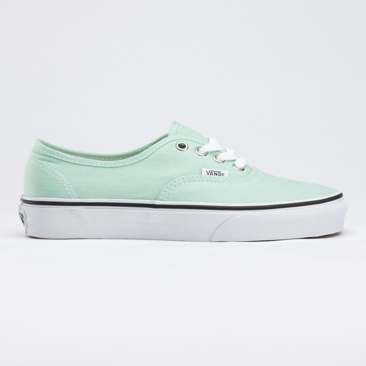 $45 Canvas Authentic Vans (in this color, Gossamer Green, or in Blue Bell which is a light blue)