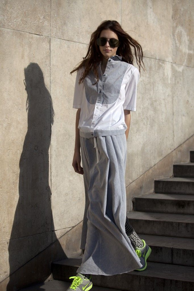 Spring 2013 Trend: Go With the Flow (MM6's cotton bib shirt and skirt. Boyy sunglasses; H socks.)  [Photo by Franck Mura]