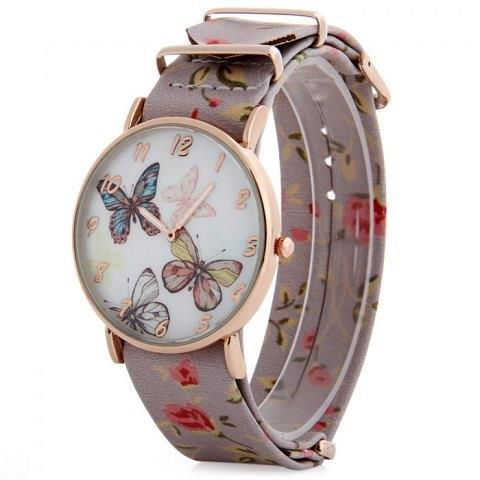 Butterfly Dial Floral Pattern Leather Band Women Casual Quartz Watch Specials