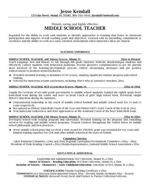 7 best resumes images on Pinterest Sample resume, Example of - middle school teacher resume