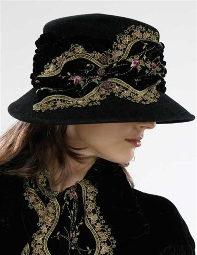 LOUISE GREEN EMBROIDERED VELVET FEDORA  This web site has amazing hats also if you are a Downton Abby fan they have some interesting clothes
