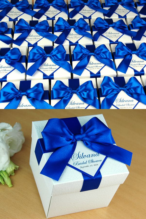 Bridal Shower Or Wedding Favor Boxes With Royal Blue Satin Ribbon Bow And Custom Tag Elegant Personalized Wedding Favor Box For Guests Personalized Wedding Favor Box Wedding Favor Boxes Wedding Gift