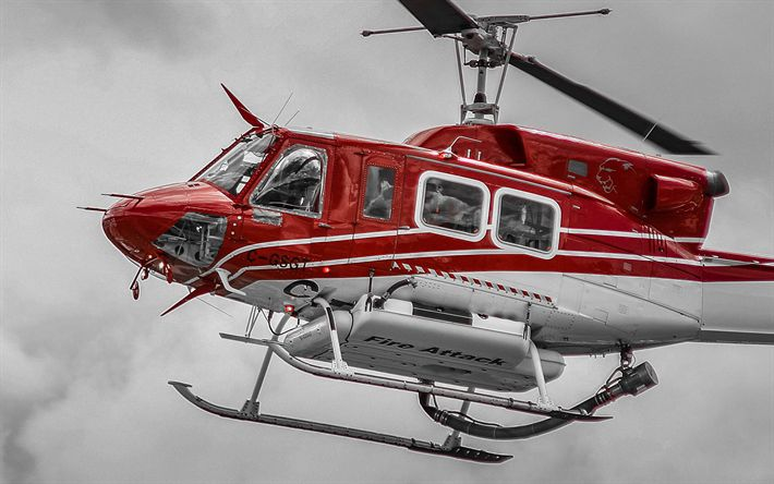 Download wallpapers Bell 212, fire helicopter, Bell, civil aviation, Bell Helicopter