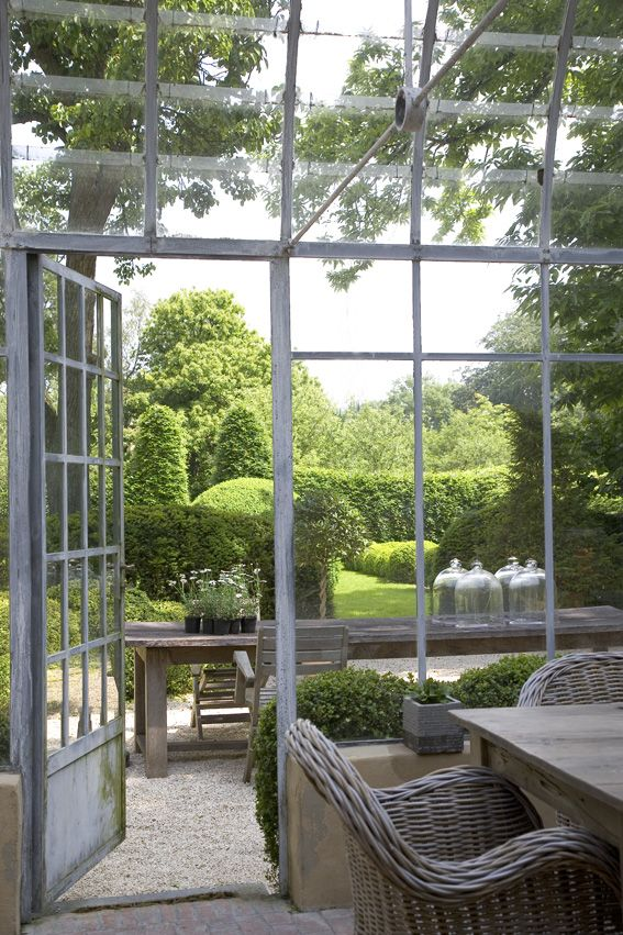 View of the garden through the glass house