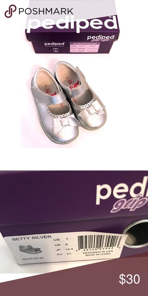 Pediped Shoes Only worn for a photo shoot. Comes with box. Absolutely charming metallic silver shoes. pediped Shoes