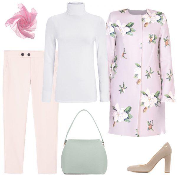 Блузка с цветами, бежевая юбка, розовый плащ, бежевые или зеленые туфли
