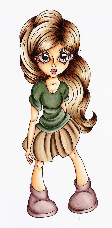 Cuddlebug Cuties #Calista # Copics: Skin: E13, 21, 30, 50, R20 Hair: E41, 43, 44, 47, 49 Clothes: BG90, 93, 96, 99 E42, 43, 44, 49 E70, 71, 74, 77