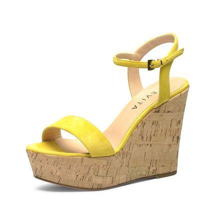 Evita Shoes Damen Keilsandalette, gelb
