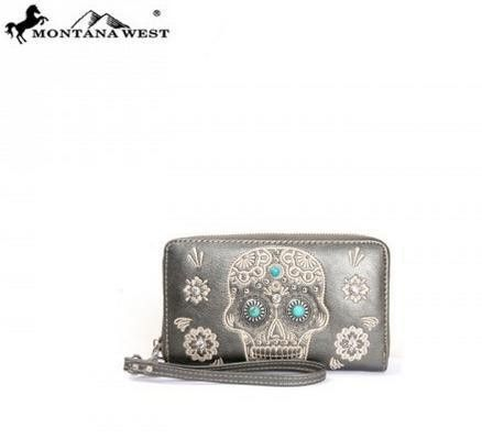 WESTERN CONCHO WALLET - PEWTER