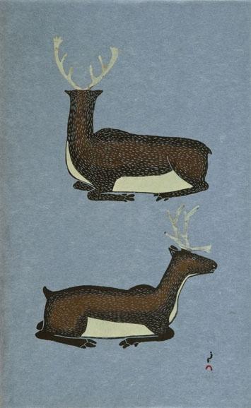 Taqaiqsiqtu Tuttu (Resting Caribou) BY KANANGINAK POOTOOGOOK Cape Dorset stonecut & stencil 56 x 34.7 cm
