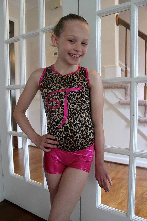 Girls Gymnastics Leotard in leopard and Pink by SweetHomeBoutique
