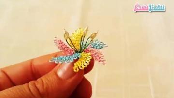 3 Boyutlu İğne Oyası Kasımpatı Çiçeği Yapılışı Anlatımlı Türkçe Videolu