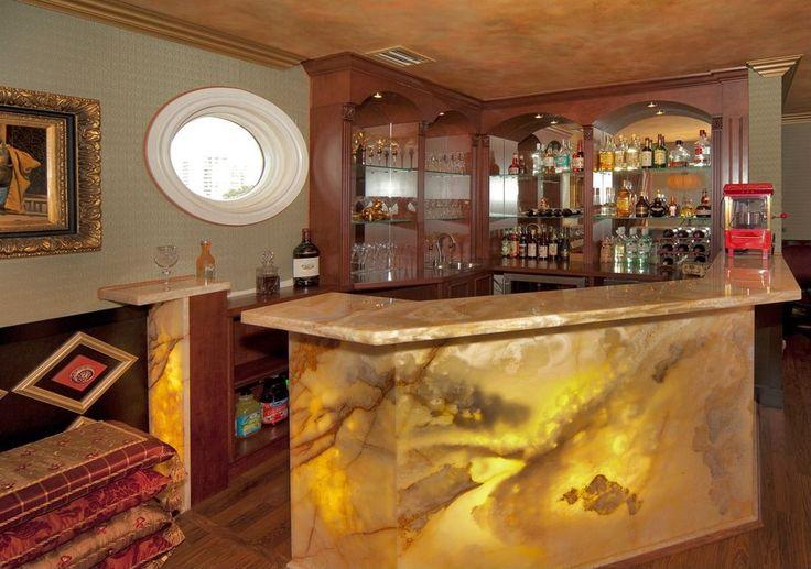 Eclectic Bar with interior wallpaper, Crown molding, Built-in bookshelf, Laminate floors