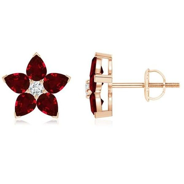 V-Prong Set Diamond and Ruby Flower Stud Earrings (40,580 HNL) ❤ liked on Polyvore featuring jewelry, earrings, accessories, flower stud earrings, blossom jewelry, ruby jewellery, earring jewelry and flower jewelry