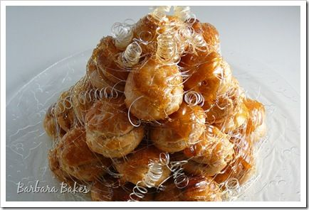 Croquembouche  Tower of creme puffs with spun sugar. Yes I think I will be making this soon!