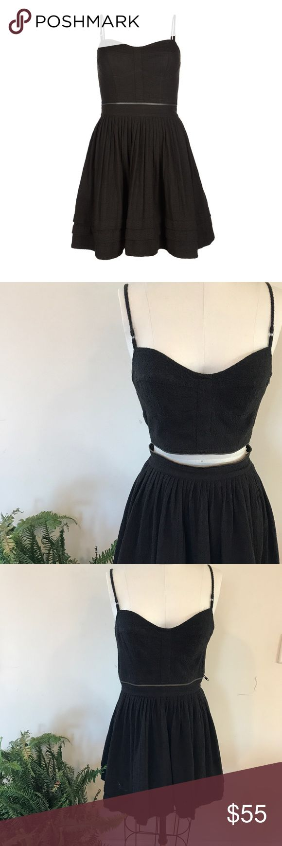 Allsaints black Anglais Prom Dress Can be worn as a dress or a two piece set. Bra top unzips from skirt. Adjustable shoulder straps. Elastic across back for added comfort. UK 12/ US 8 All Saints Dresses Mini