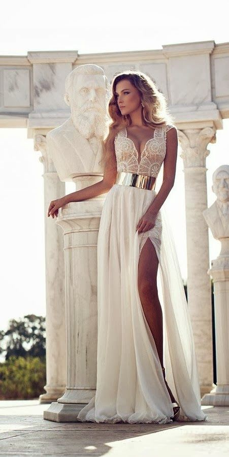 Latest Gorgeous long wedding dress fashion  ---Don't like the belt thug an I would want sleeves. Capped sleeves, 3/4 length maybe... Something