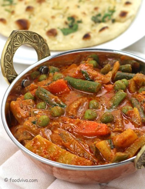 Vegetable Kolhapuri - Spicy Curry of Mixed Vegetables - Recipe with Step by Step photos