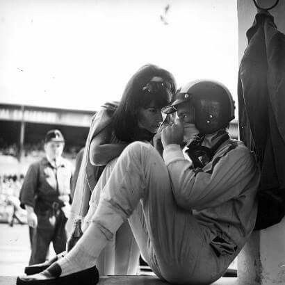 Racing champion's anxiety ♦ Jo Siffert being comforted by his wife. Ca. 1970.