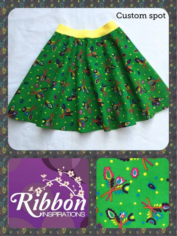 Handmade by Kate from Ribbon Inspirations. A custom spot for a knee length Boo! Designs skater skirt in this pinwale corduroy fabric, great for the cooler weather.