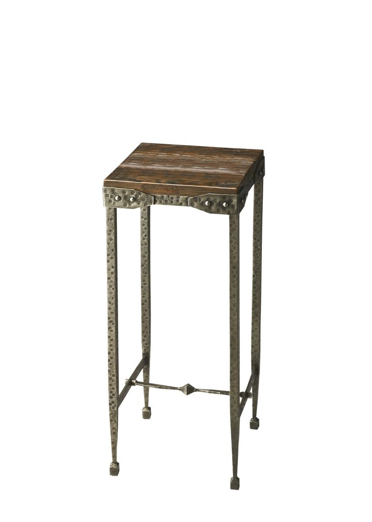 Industrial Chic Wood And Iron Handcrafted Pedestal Plant Stand