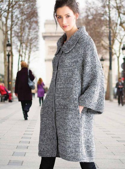 Пальто свободное с карманами. Женское вязаное пальто спицами