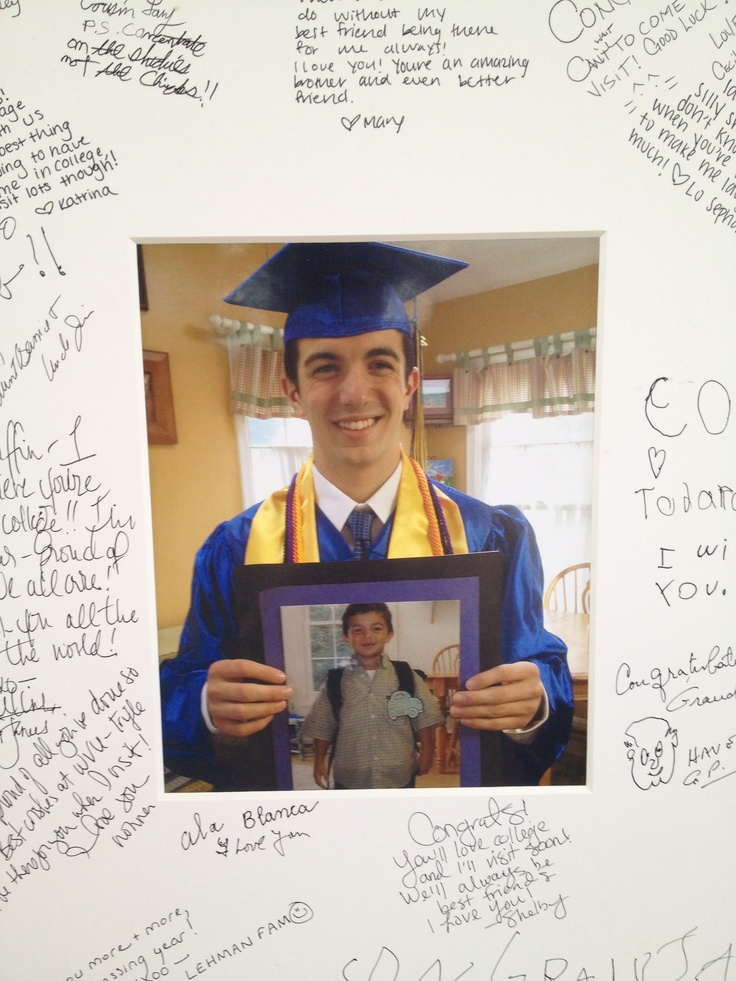 First day of kindergarten to graduation! This picture was out at my sons graduation party fir friends and family to write notes around the frame! So fun!