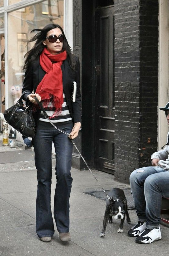Red scarf, striped shirt, straight leg jeans, black blazer