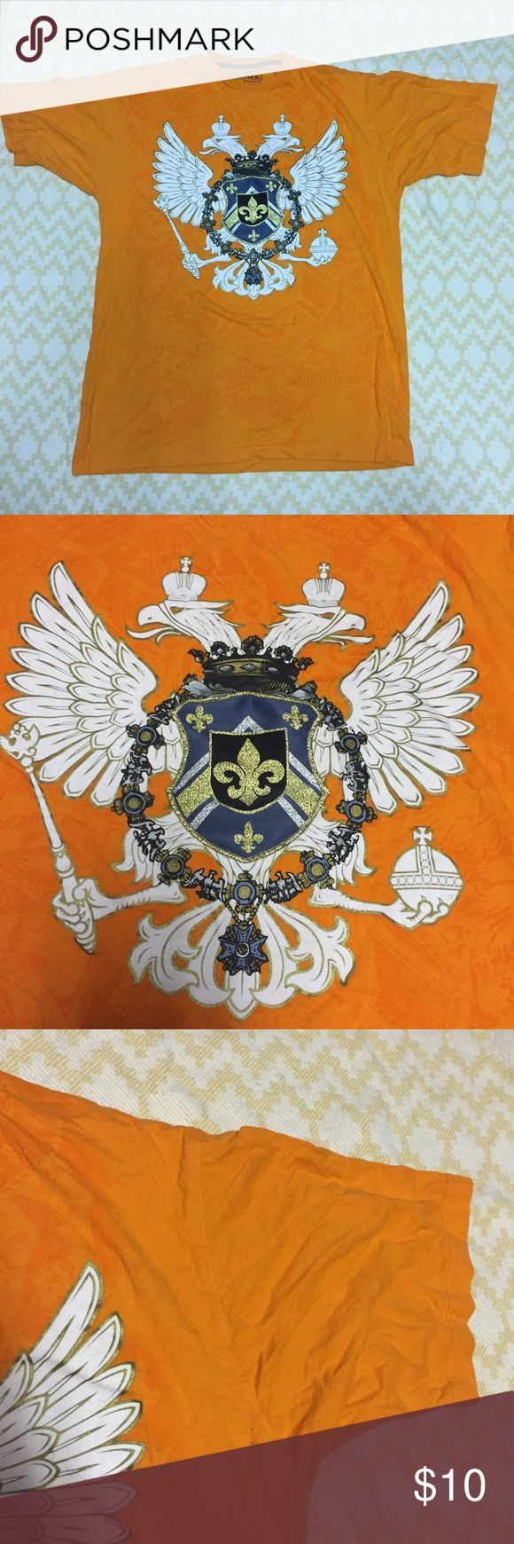 Orange Avirex crest shirt Cool Avirex orange shirt with Crest and two large birds. In good condition. Size large no visible flaws, stains, or pills. Avirex Shirts Tees - Short Sleeve