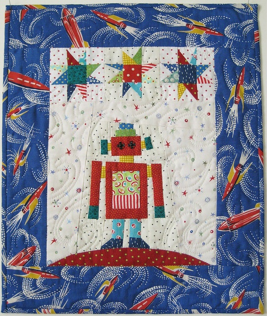 89 best quilts to make for jack images on pinterest for Robot quilt fabric