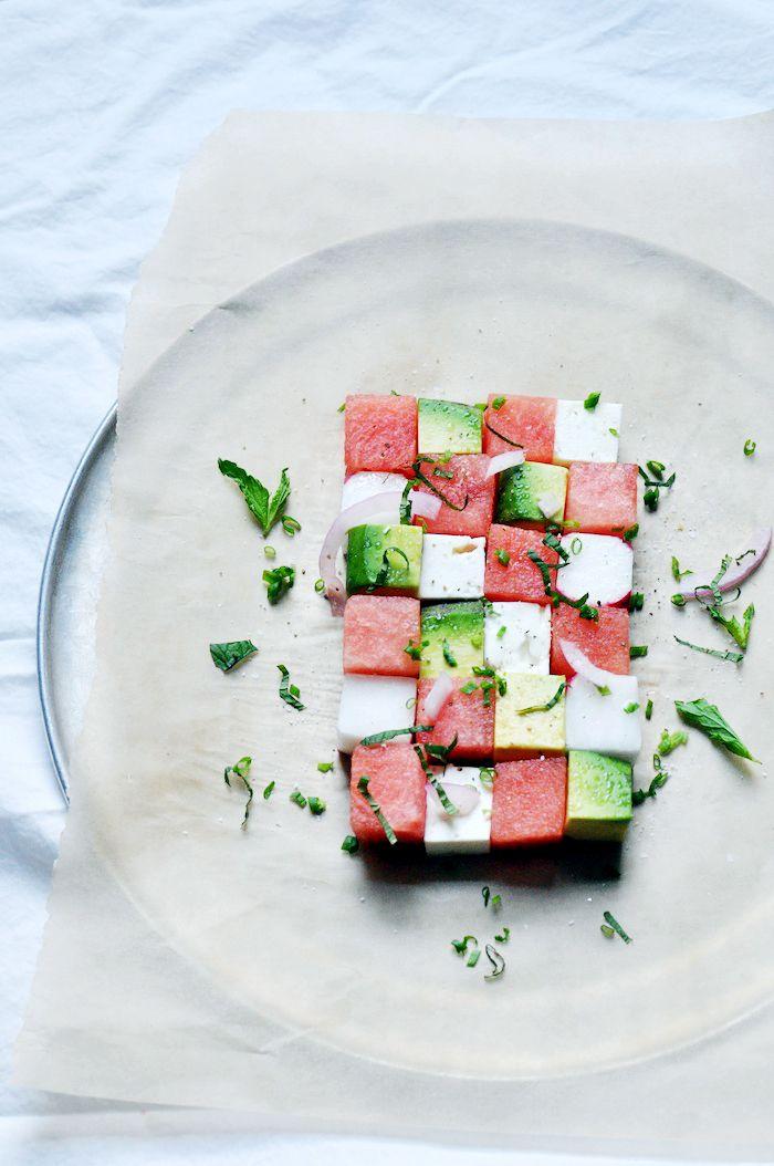 Cubed salad(watermelon,avocado,feta) http://www.ilanafreddye.com/2012/06/summer-salad.html