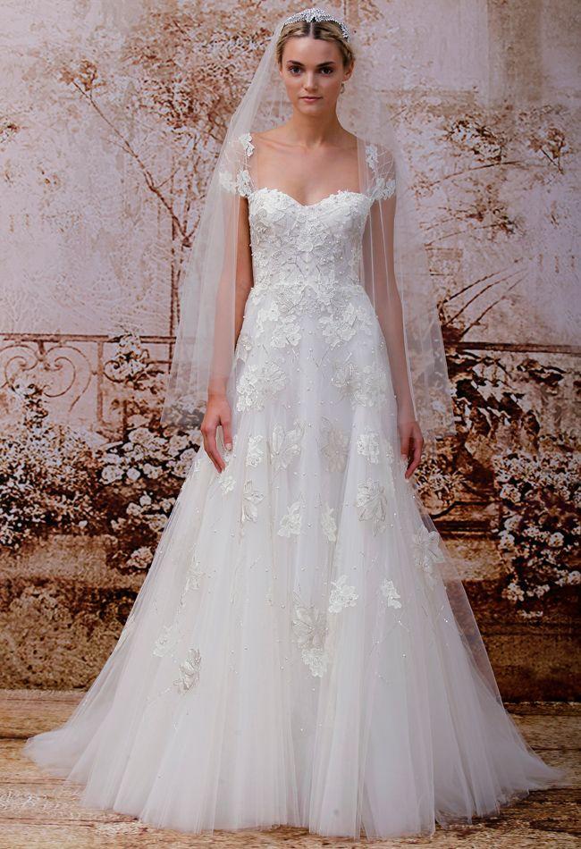 Shoulder Idea.  Dress very similar to mine.  Monique Lhuillier Wedding Dresses Spring 2014.
