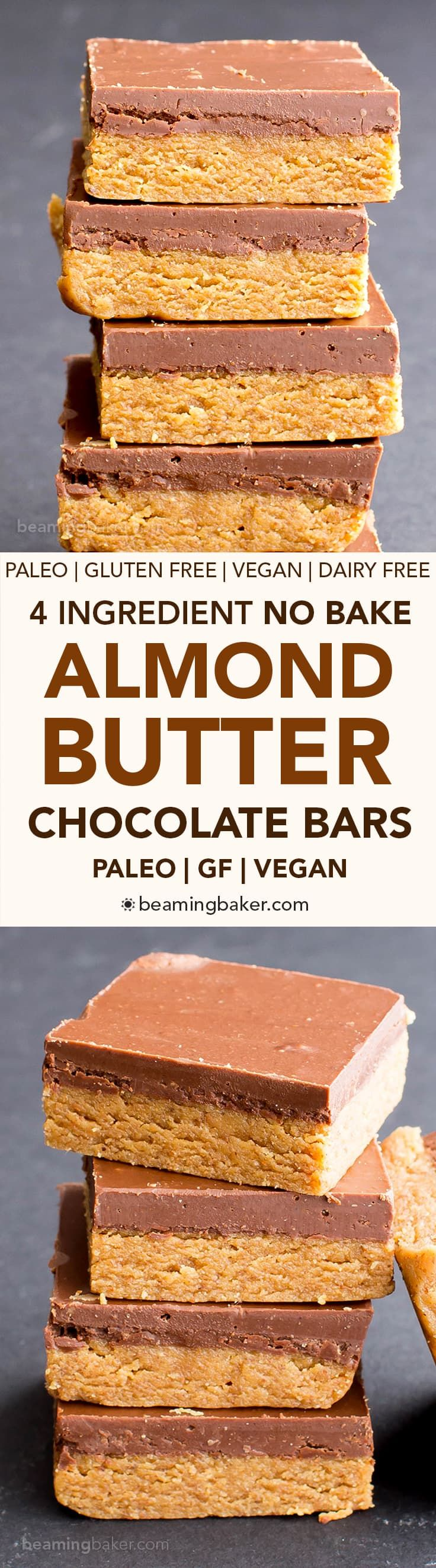 No Bake Paleo Chocolate Almond Butter Bars (V, GF, Paleo): a 4-ingredient no bake recipe for thick, decadent almond butter bars topped with chocolate. V, GF