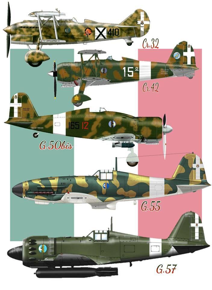 Qui i caccia più usati durante il conflitto dalla regia aeronautica, solo un particolare non riesco ancora a comprendere, non ho trovato nessun riscontro nel G.57, bensì solo nel G.55 e G.56, il G.57 non ho trovato nessuna prova della sua esistenza, credo che sia un errore di chi ha fatto questo post.