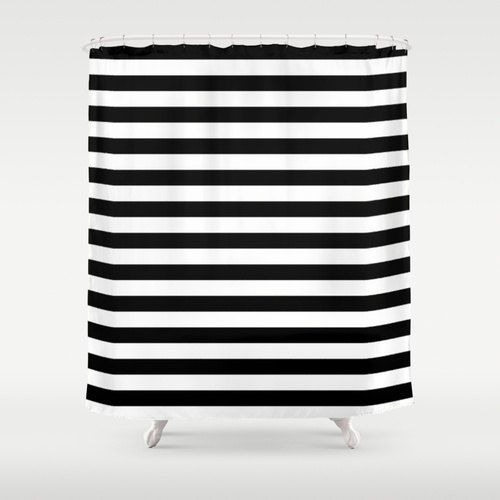 Shower curtain black and white stripes housewarming for Black and white striped bathroom accessories