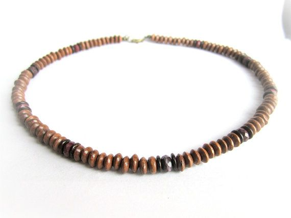 Mens wooden necklace wood beaded necklace brown by Bravemenjewelry