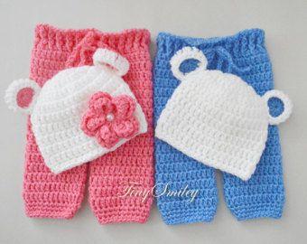 Twin Sets de bebé recién Twin Sets, oso Twin Sets, Crochet oso sistema, sistema del oso del bebé, bebé gemelo trajes, trajes de oso recién nacido, bebé pantalones
